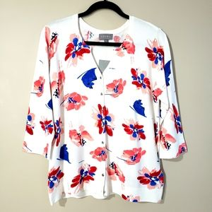 Laura Long Sleeve Floral Print Cardigan NWT Large